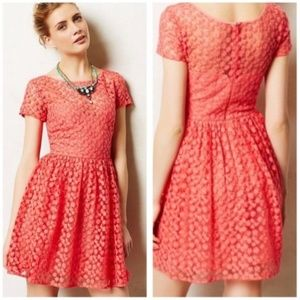 Anthro Artelier | Coral Floral Lace Overlay Dress